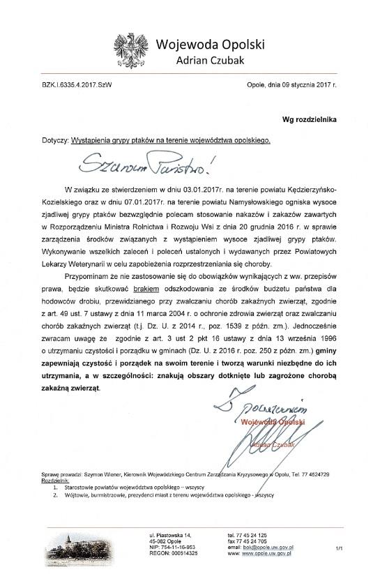 Wojewoda Opolski_Grypa ptaków_09.01.2017.jpeg