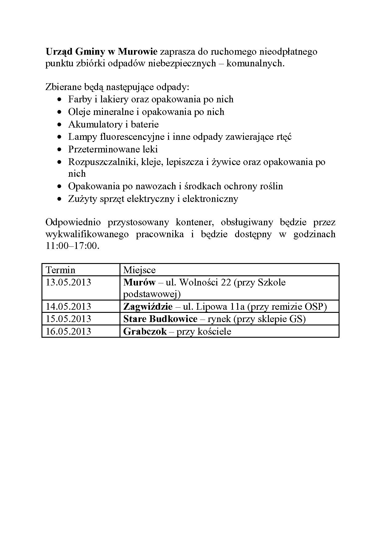 Urząd Gminy w Murowie zaprasza do ruchomego nieodpłatnego punktu zbiórki odpadów niebezpiecznych.jpeg
