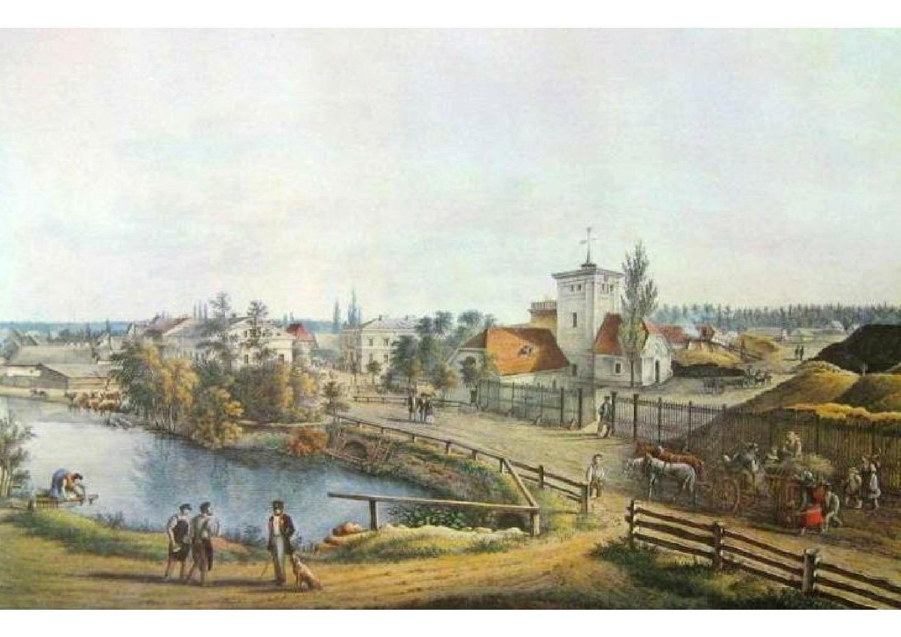 XIXw.litografia H.Knippel obrazująca malowniczą panoramę Zagwiździa z Hutą Kluczborską na czele.jpeg