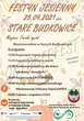 """Na jesiennym tle plakatu zostały umieszczone informacje: Festyn Jesienny, 25.09.2021 sobota, Stare Budkowice, Miejsce: Farski ogród, Bioróżnorodnie w Starych Budkowicach, w programie: 15:00 Rozpoczęcie imprezy plenerowej, 15:30 Zajęcia przyrodnicze w terenie, 17:00 Konkurs przyrodniczy dla dzieci, młodzieży i dorosłych, 18:00 Występ sekstetu instrumentalnego Młodzieżowej Orkiestry Dętej KAPRYS, 20:00 Zabawa z zespołem LOGO. W bufecie: atrakcje kulinarne z finałem o godz. 19:00 - golonka, organizatorzy: Gmina Murów oraz Rada Sołecka St. Budkowce. Poniżej logo Stobrawska Wstęga oraz  Projekt partnerski pn. """"Stobrawska wstęga – ostoja bioróżnorodności – edukacja,  rozpoznanie i ochrona"""" współfinansowany przez Unię Europejską ze środków Europejskiego Funduszu Rozwoju Regionalnego w ramach Regionalnego Programu Operacyjnego Województwa Opolskiego na lata 2014-2020 Nr umowy o dofinansowanie: RPOP.05.01.00-16-0008/19-00"""